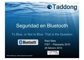 Seguridad en Bluetooth - Taddong