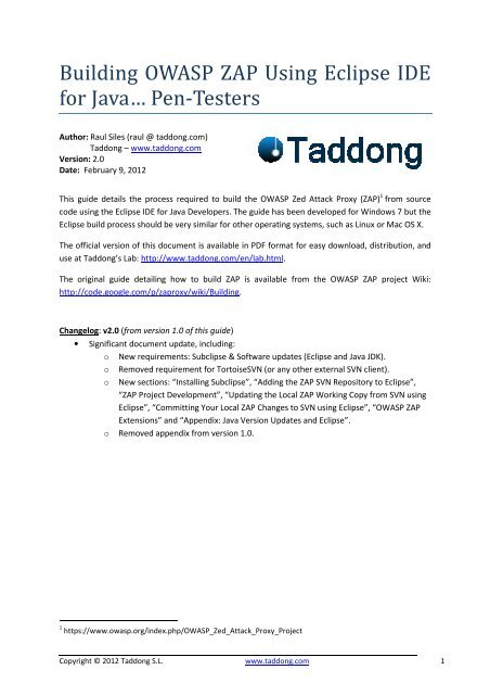 Building OWASP ZAP Using Eclipse IDE for Java - Taddong