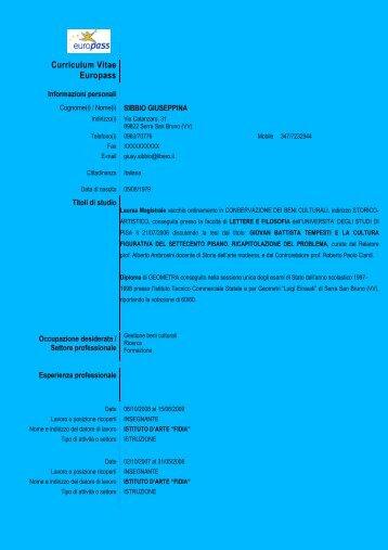 Curriculum Vitae Europass - Ordine degli Ingegneri della provincia ...