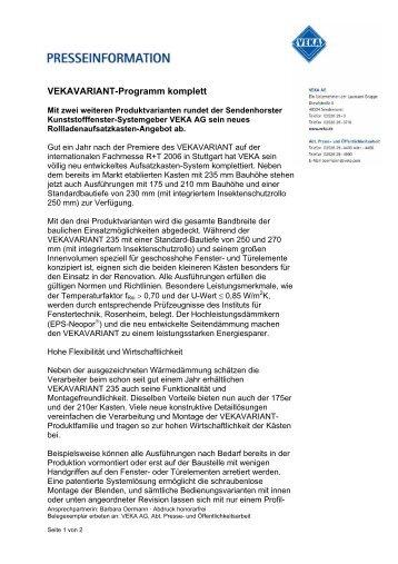 VEKAVARIANT-Programm komplett