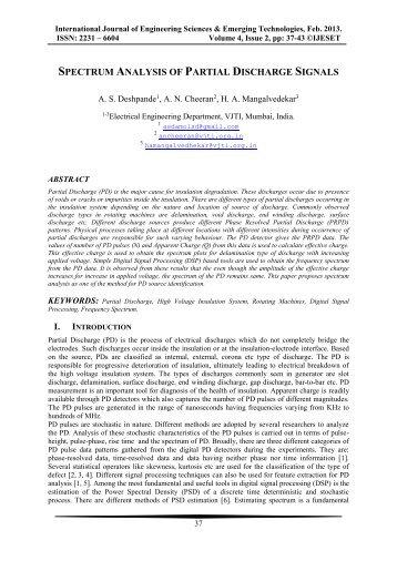 Spectrum Analysis of Partial Discharge Signals - Ijeset.com