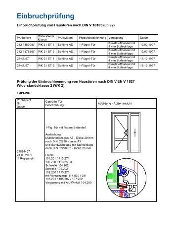 Einbruchprüfung von Haustüren nach DIN V 18103 (03.92) - Veka AG.