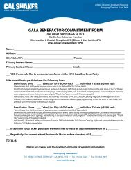 gala benefactor commitment form - California Shakespeare Theater