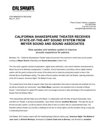 Cal Shakes receives new state-of-the-art sound system from Meyer ...