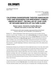 Cal Shakes announces cast and designers for AMERICAN NIGHT