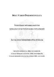 Kábel TV ÁSZF (Hatályos 2011. 01. 01. napjától) - Bóly