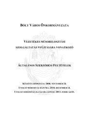 Kábel TV ÁSZF (Hatályos 2011. 02. 01. napjától) - Bóly