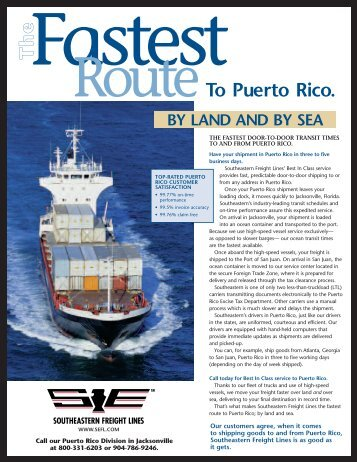 TT hh ee RouteTo Puerto Rico. - Southeastern Freight Lines