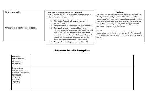 Feature Article Template Classnet