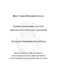 Internet ÁSZF (Hatályos 2011. 01. 01. napjától) - Bóly