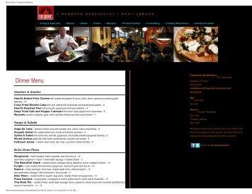 Dinner Menu | Fireworks Brattleboro - The Latchis