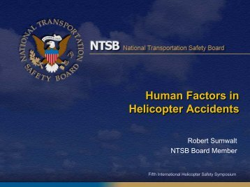 Keynote Address by Robert Sumwalt, NTSB Vice Chairman - IHST
