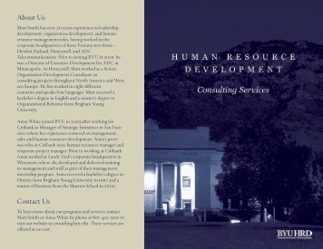2007 HRD consulting brochure.indd - Human Resource Development