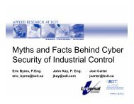 Myths and Facts Behind Cyber Security of Industrial Control - PIMA