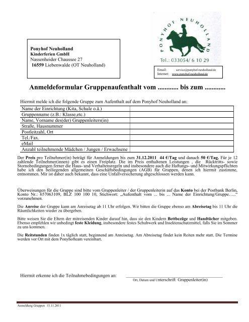 Anmeldeformular zum Gruppenaufenthalt - Ponyhof Neuholland