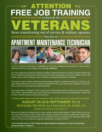 august 26-29 & september 10-13, 2013 - Western Technical College