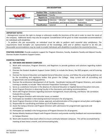 JOB DESCRIPTION Position Title: Academic Dean Department ...