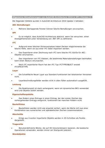 Allgemeine Aktualisierungen von Autocad Architecture 2010 in ...