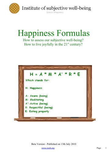 Happiness Formulas - Subjective well-being: Institute of subjective ...