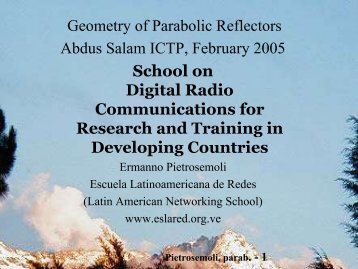 Geometry of Parabolic Reflectors Abdus Salam ... - Wireless@ICTP
