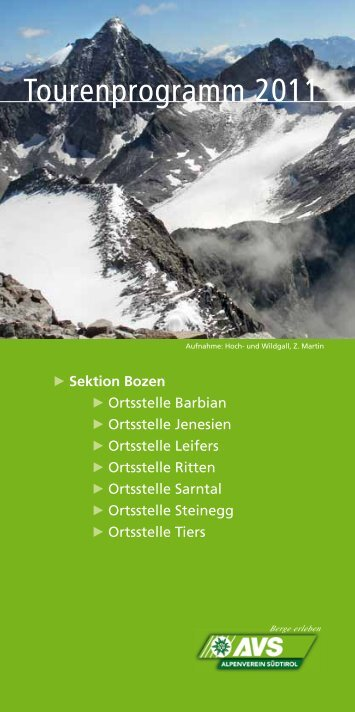 Tourenprogramm 2011 - Alpenverein Südtirol