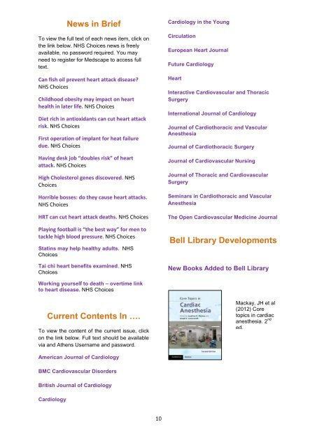 Cardiothoracic - The Royal Wolverhampton NHS Trust Library Service