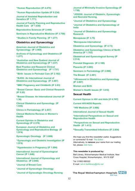 Women's Health Bulletin - The Royal Wolverhampton NHS Trust ...