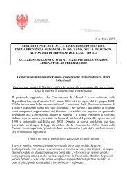 Seconda relazione - Consiglio della Provincia autonoma di Bolzano