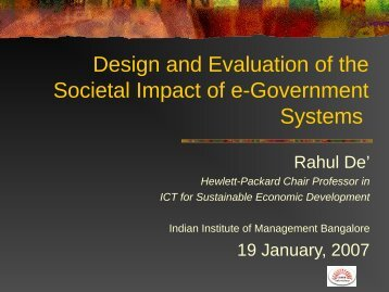 Issues in E-Government Research - IT for Change