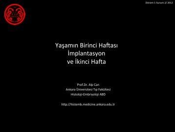 Erken Embriyo Gelişimi ve İmplantasyon - Ankara Üniversitesi Tıp ...