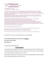 Brief an den Bayerischen Ministerpräsidenten Horst Seehofer ...