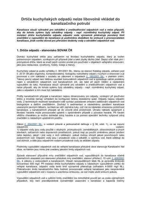 Článek k drtičům odpadů - stanovisko SOVAK ČR