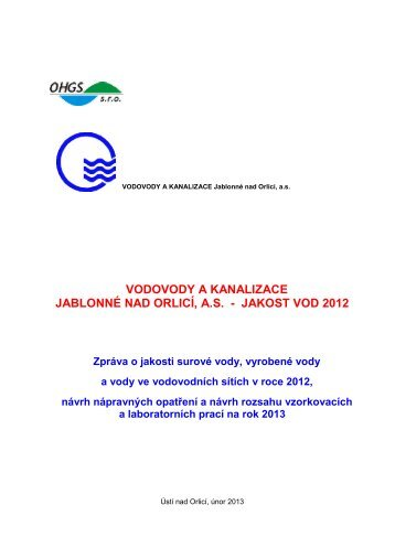 Přehled jakosti pitné vody v síti za rok 2012 a plán kontrol na 2013