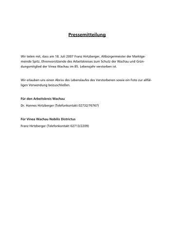 Franz Hirtzberger Sen - Arbeitskreis Wachau