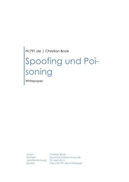 Christian Book – 2013 – Spoofing und Poisoning - RFC 791