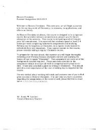 Honors Chemistry Summer Assignment 2012-2013 Welcome to ...