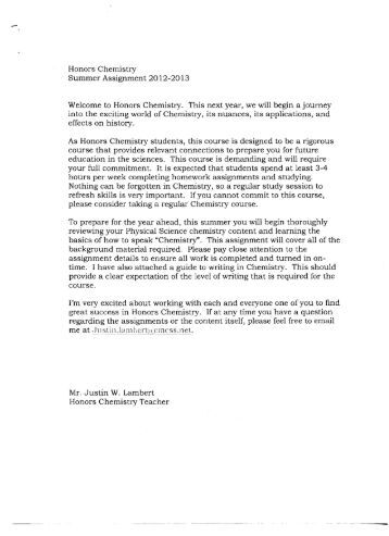 chemistry assignment pdf schs honors chemistry summer assignment 2012 2013 welcome to
