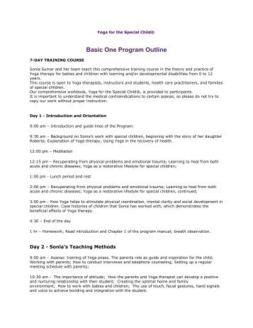 YSC Basic program 1 Outline - Yoga 4 Kids