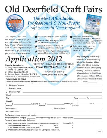 Vendor application for the trash to treasure green craft for Old deerfield craft fair