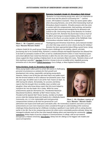 2012 Outstanding Youth of Shrewsbury award bios