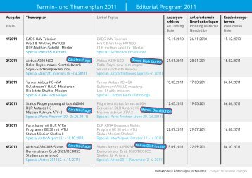 Termin- und Themenplan 2011 Editorial Program 2011