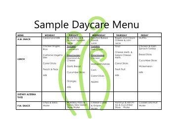 sample daycare menu