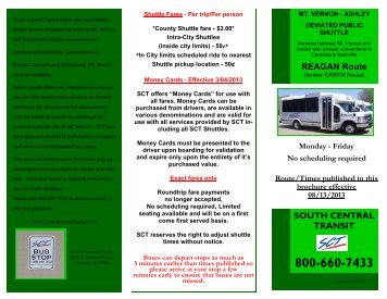 Reagan (Green) Route Brochure August 2013 - South Central Transit