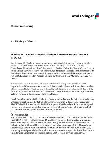 Medienmitteilung 05.01.2012 - Axel Springer Schweiz