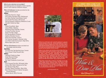2010 DISNEY WINE & DINE PLAN for Disney Vacation Club Members