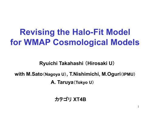 Revising the Halo-Fit Model for WMAP Cosmological Models - CfCA
