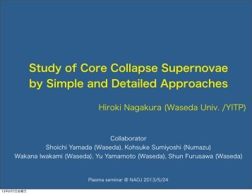 Study of Core Collapse Supernovae by Simple and Detailed ... - CfCA
