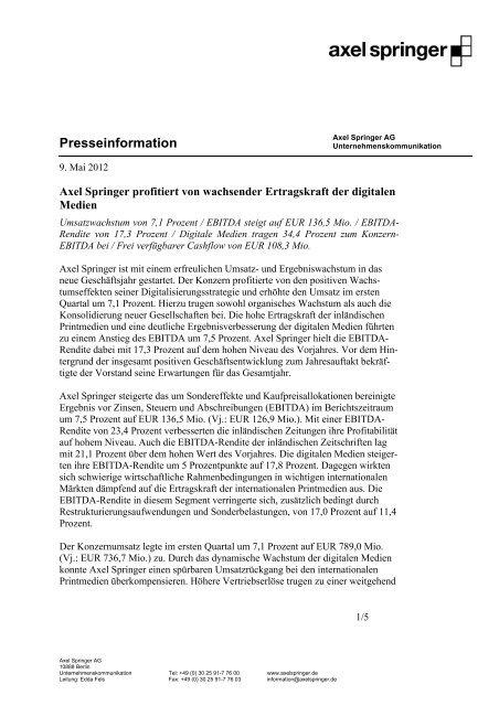 Presseinformation - Axel Springer Schweiz
