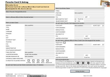 Porsche Card S Credit Card Antrag