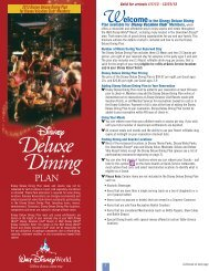 Deluxe Dining Plan - Disney Vacation Club